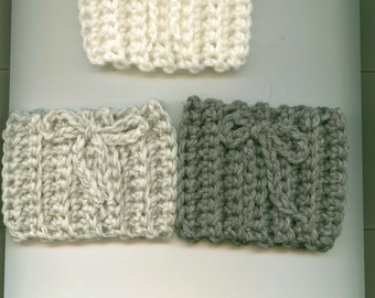 Hand Crocheted 'To Go' Coffee Cup Sleeve, SET of THREE, Soft White,Gray-White Mix, Gray,  Gift Ready