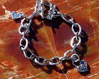 Artisan Jewelry Handcrafted Artisan Sterling Silver Oval Link Bracelet