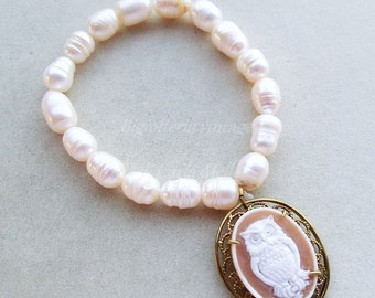 Victorian Cameo freshwater pearls filigree owl shell cameo