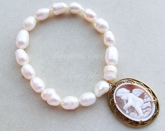 Victorian Cameo freshwater pearls filigree angel shell cameo