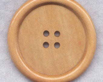 Natural Brown Wood Buttons BIG Wooden Buttons 50mm (2 inch) set of 2/BT517