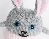 A handmade knitted bunny rabbit soft children's toy, hand knitted toys, knit toy, gift for children, plush bunny rabbit, Easter bunny