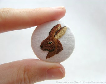 Miniature Hand Embroidered Button Badge - Hare