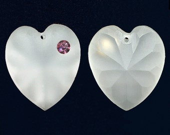 Heart Pendant Bead 25mm Matte Crystal Clear w/ Rose, Siam, Topaz, Montana Blue or Peridot Rhinestone 1 Pc.