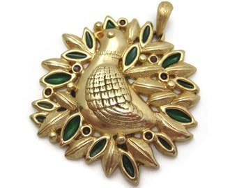 Vintage Sarah Coventry Christmas Pendant - Partridge in a Pear Tree