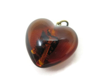 Victorian Amber Puffy Heart Pendant - Antique Glass Fob Puffy Heart