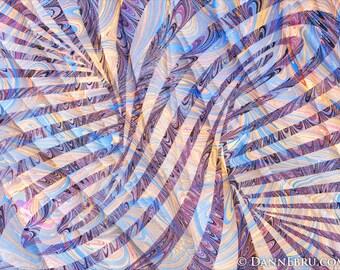 "Spiral Column , 7""x5"" Ebru Art - marbling Artist - archival Giclee print"