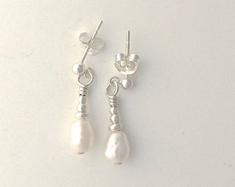 Small River Pearl Earrings with Sterling Silver