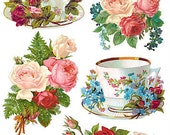 Self Adhesive Tea Cups Stickers 1 Sheet Colorful Scrapbooking Stickers  Number 94