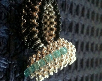 Metal Bands Beadwoven Rings,One of a Kind,Handmade