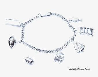 Vintage Charm Bracelet, Silver Chain