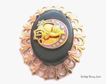 Vintage Enamel Bird / Moon Pin Brooch, Black / Gold