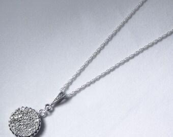 Silver Necklace Silver Titanium Druzy Pendant Crown Pendant Gemstone Necklace Silver Fine Druzy Pendant Silver Drusy Pendant FD-P-103-S/s