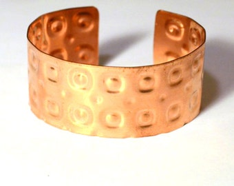 Copper Cuff Bracelet Embossed with Dots in Squares Pattern, Handmade from Reclaimed Metal, Bright Shiny EcoFriendly Polka Dot Print Jewelry