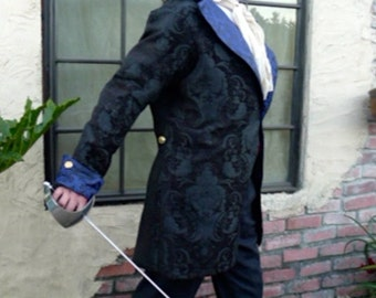 Black Tapestry  and Royal Blue Swallowtail Steampunk Frock Cutaway Wedding Coat