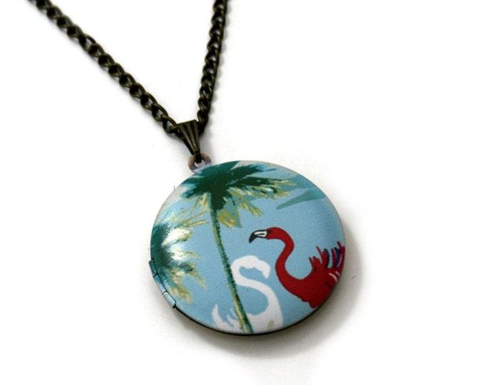 Flamingo Locket Necklace, Bird Necklace