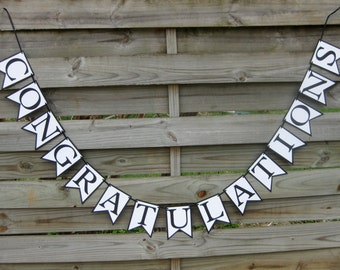 Congratulations Banner - Graduation Open House Decoration in Black and White