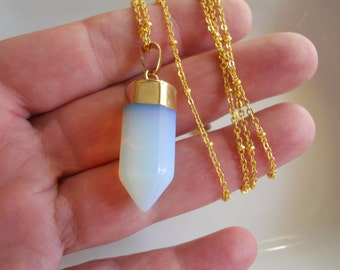 Opal Point Pendant with 24kt  Gold Plate on Long Gold Chain with Tiny Gold Beads Gemstone Jewelry