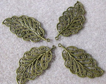 SALE Antique Bronze Brass Plated Filigree Leaves Leaf 33mm x 17mm 506