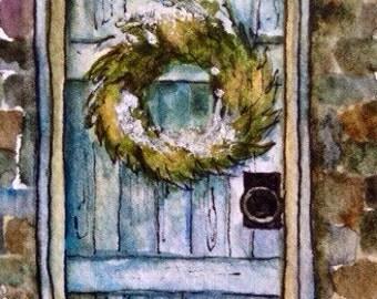 Barn Doorway Watercolor ACEO Artist Trading Card Snow Barn Wreath Original Watercolor