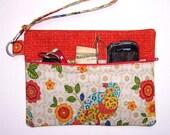 Orange Blue Yellow Birds Wristlet, Cream Tan Floral Clutch, Small Zippered Purse, Bird Print Makeup Bag