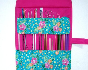Pink Floral Knitting Needle Roll Up, Fabric Storage Case for Holding Crochet Hooks, Double Pointed Needles DPN, Artist and Makeup Brushes