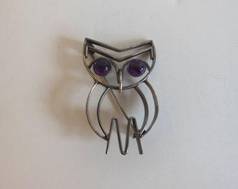 50's brooch /  Vintage 1950's Mid Century Modern Owl Brooch