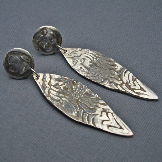 One of a Kind Long Etched Dangle Fine Silver Earrings with Posts by Designs by Suzyn