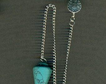 Turquoise and Howlite Zuni Bear Totem Pendulum