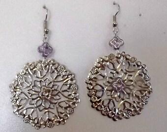 Silver Filigree Bohemian Gypsy Earrings - Purple Accents