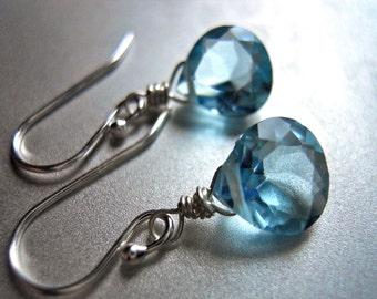 Sky Blue Earrings, Aqua Earrings, Teeny Sky Blue Earrings - Sterling or Gold Available, Gemstone earrings