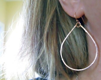 Hammered Hoop Earrings,14K Rose Gold Filled Hoops, Style: Kristiana, Optional Leverback earring, 2 inches, Hammered Rose Gold Hoop Earrings
