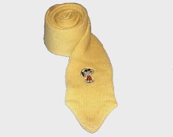 1970s tie / vintage 70s men's tie / Snoopy / Yellow Knit Joe Cool Snoopy Skinny Tie