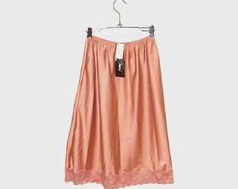 1980s Yves Saint Laurent lingerie / vintage 80s slip / medium m / Yves Saint Laurent YSL Pink Lace Half Slip Deadstock