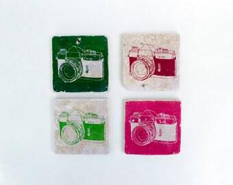 Camera Stone Coasters Set of 4