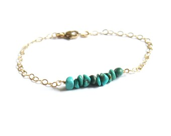 Genuine Turquoise Bracelet, Bridesmaid Gift, Gold Turquoise Bracelet, December Birthstone Jewelry, The Silver Wren, Turquoise Jewelry