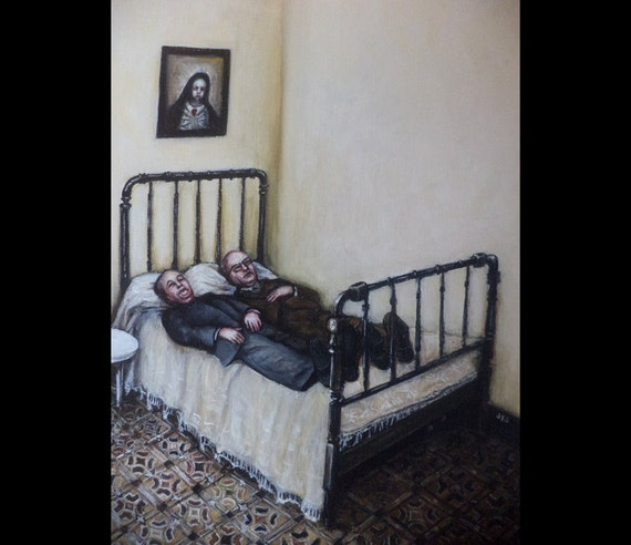 The Nap Rest Original Painting Surreal Bed Bedroom Ikon