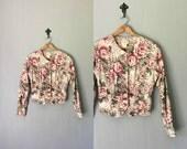 Vintage BANANA REPUBLIC Jacket •1990s Clothing •Oversize Floral Print Cotton Riding Coat Button Up Safari And Travel • Women Medium Large