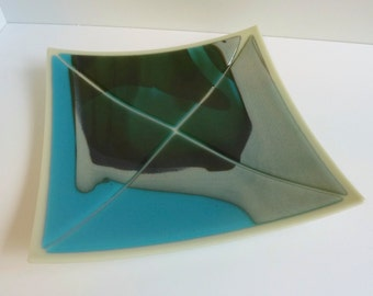 Fused Glass Plate in Pale Gray, Turquoise and Aqua by BPRDesigns