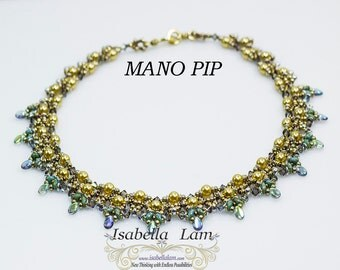 MANO PIP O-BeadsPearl and SuperDuo Beadwork Necklace tutorial instructions for personal use only