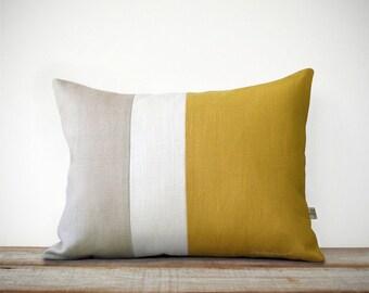 Mustard Yellow & Cream Pillow Cover - Colorblock - Modern Home Decor by JillianReneDecor | Minimal | Linen | Color Block | Honey Gold