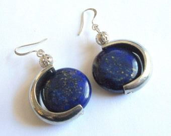 Lapis earrings, blue earrings, gemstone earrings, boho chic earrings, silver link earrings, lapis jewelry, boho jewelry, gemstone jewelry