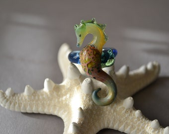 Sea Horse Ring in Blues and Greens