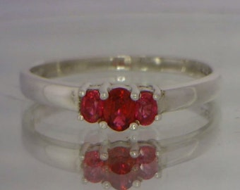 Red Sapphire Handmade Sterling Silver Petite Three Stone Ladies Ring size 6.75