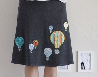 Lovely Day Skirts for Women,  Pull on a-line skirt, Cotton knee length skirt, Midi graphic skirt, Womens cute skirts - Hot aire balloon ride