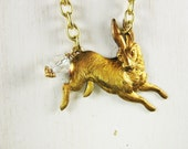 Rabbit Necklace, Hare Necklace, Antique Brass, Long Necklace, Rabbit Pendant, Bunny Pendant, Bunny Rabbit, Handmade
