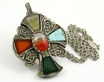 Vintage Singed Miracle Necklace Miracle Pendant with Chain Celtic Cross Gothic Corss Medieval Cross Faux Agate Glass Stones Miracle Britain