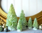 5 Pale green bottle brush Christmas trees vintage style mica glittered Farmhouse Shabby Cottage Holiday decor