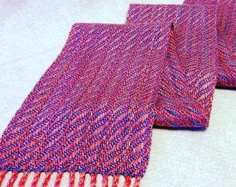 Handwoven Cotton Rayon Tencel Scarf - Woven Scarf - Raspberry Cream Scarf - Lavender Scarf