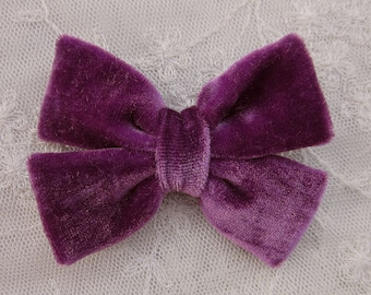 3.5 inch EGGPLANT VELVET Ribbon Bow Applique Bridal Baby Hair Accessory Pin